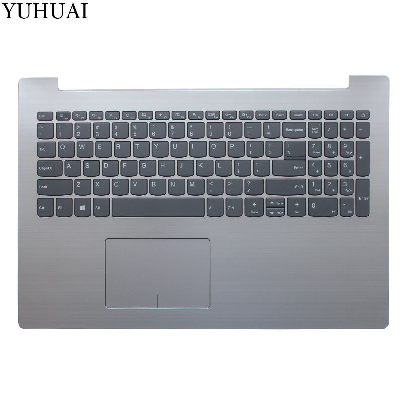 NEW US keyboard FOR Lenovo IdeaPad 320-15 320-15IAP 320-15AST 320-15IKB US keyboard with silver Palmrest COVER цена