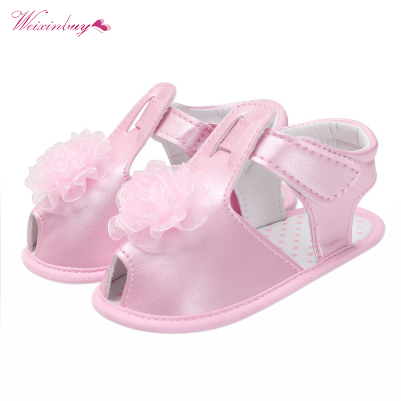 Summer Baby Girl Shoe Toddler Girl Bebe Solid Party Baby Shoes Infant Flower Birthday PU Baby Moccasins Shoes 0-18 Months