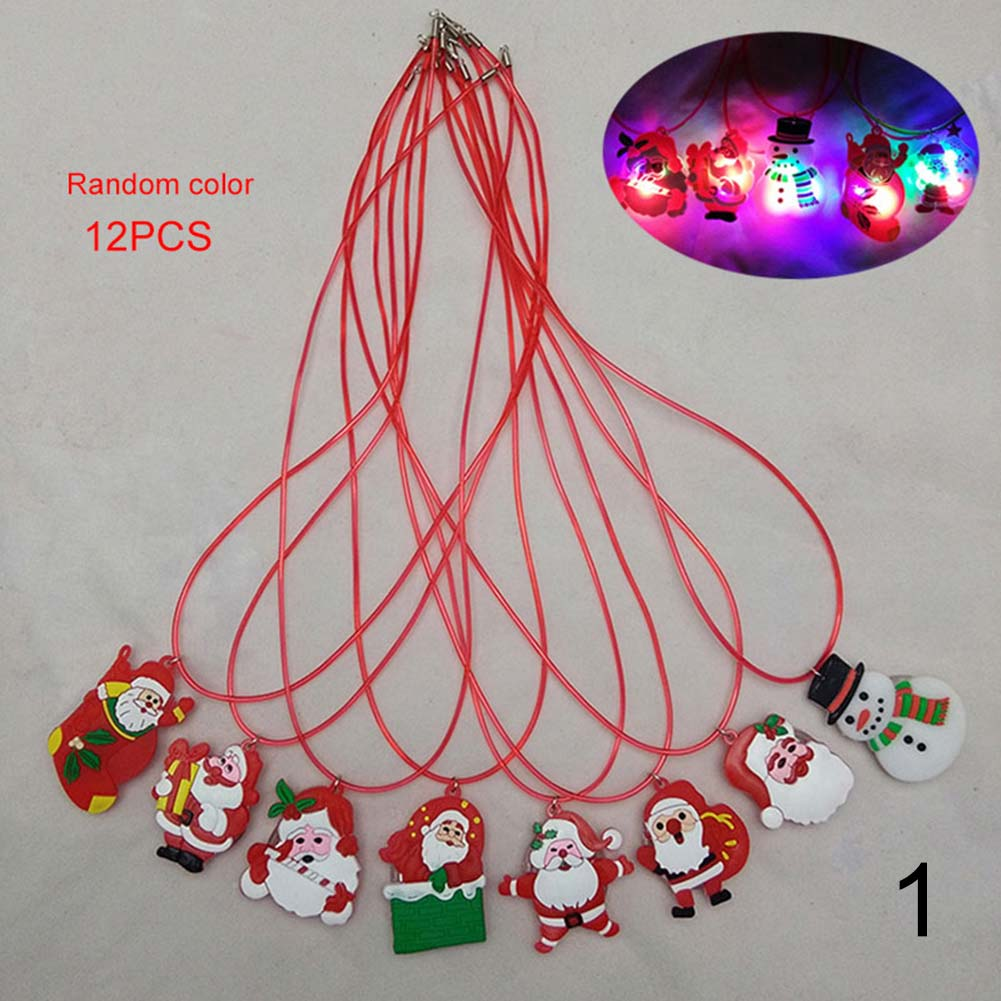 12Pcs/Set Children Toy LED Necklaces Kids Boy Girl Gifts Luminous Snowman Christmas Tree Santa Claus Necklace Random Co KQS8