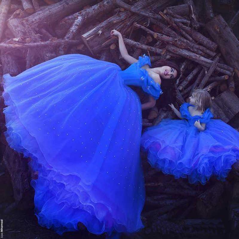 ... 2018 summer Princess Cinderella dress Girls baby Ball Gown Party  dresses children clothe princess Blue long ... 4339c25c2ce7