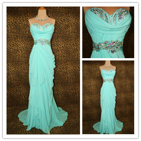 3cd6a2ac3 Elegant Mint Green Prom Dresses 2013 Long Chiffon Evening Gowns with Beads  and Crystals 2014 High