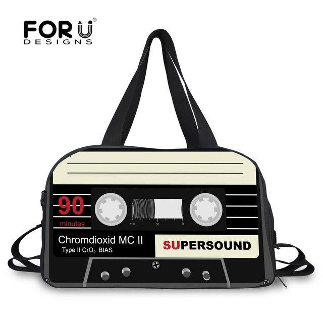 FORUDESIGNS Women Travel Bag Big Duffel Men luggage Bags Cassette Tape  Printing Duffle Tote Canvas Weekend 92aec499365c6
