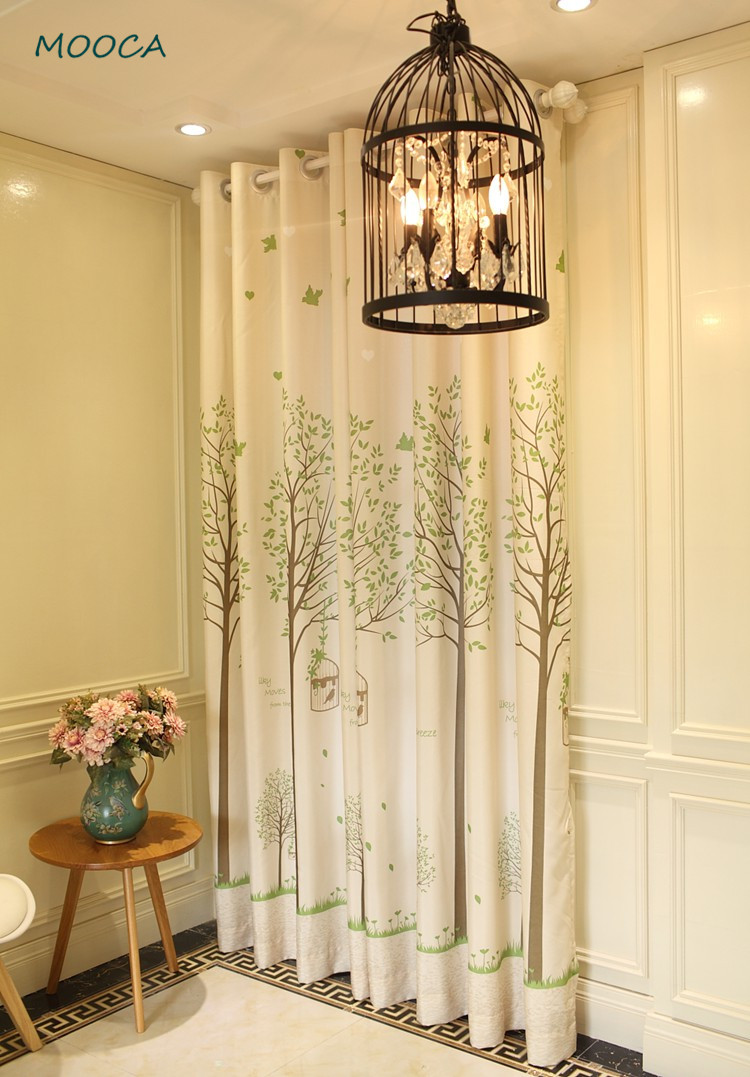 Trees and bird cage curtain green living room curtain decoration ...
