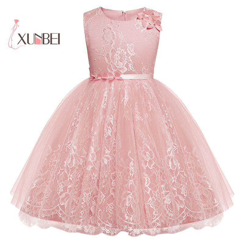 Lovely Pink Lace   Flower     Girl     Dresses   2018 Soft Tulle Appliqued Communion   Dresses   For   Girls   Pageant   Dress