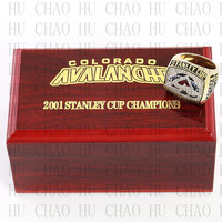 Replica 2001 Colorado Avalanche Stanley Cup Championship Ring National Hockey League With High Quality Wooden Box