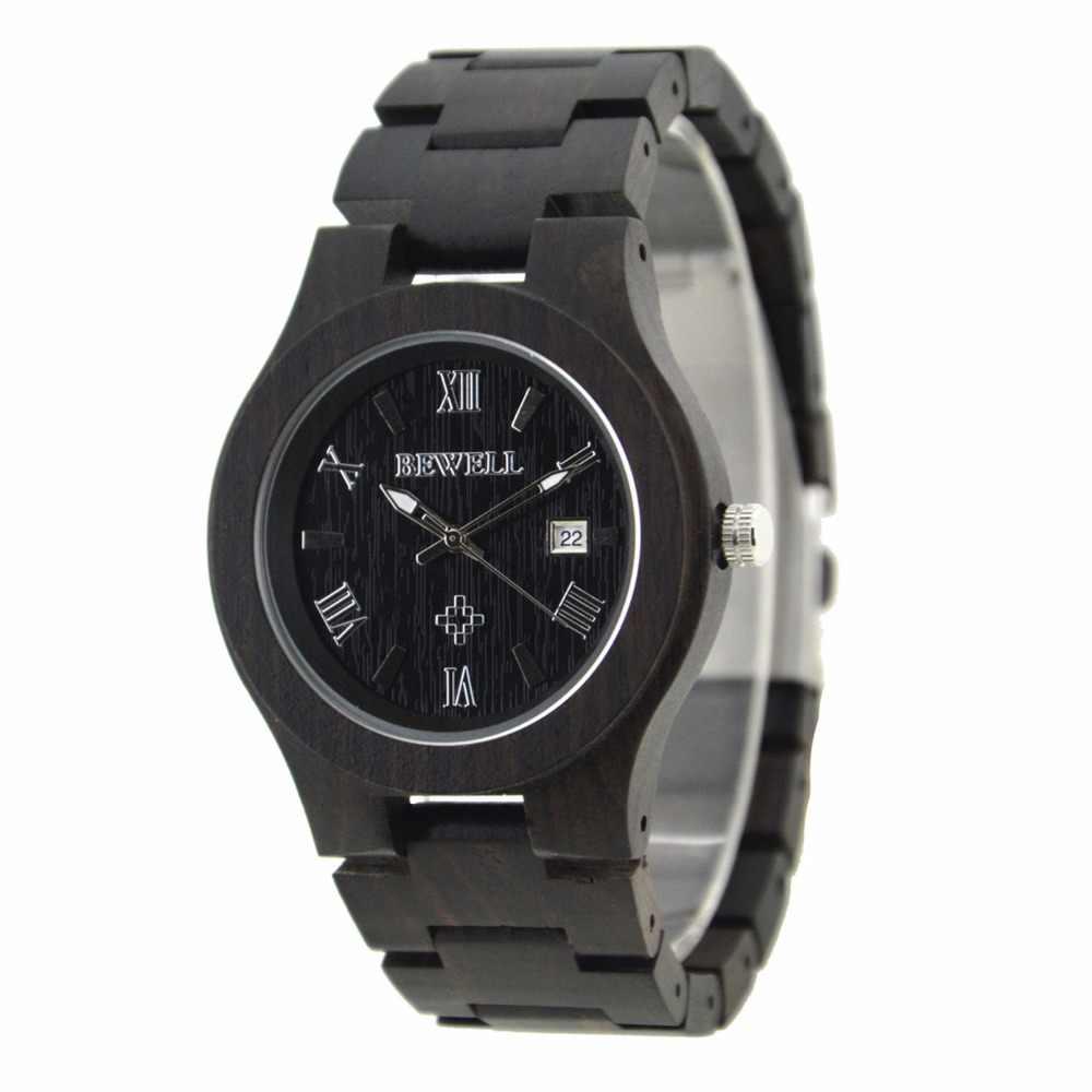 Reloj de madera BEWELL para hombre, marca superior de lujo de reloj de madera resistente al agua, con caja de venta al por menor, Erkek Kol Saati 127A