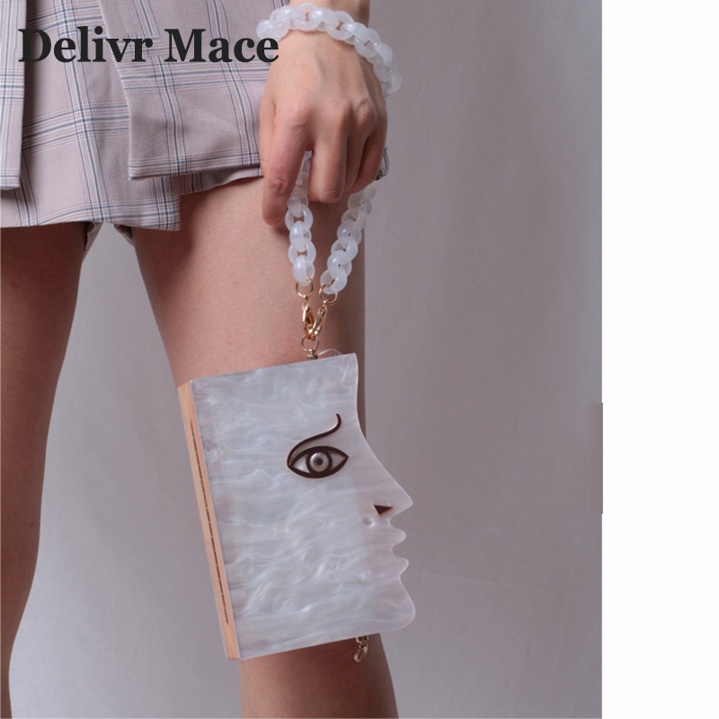 Half Face Acrylic Wood Pathchwork Women Evening Clutch Bags Mini Women's Shoulder Messenger Bag Personality Women's Handbags-in Top-Handle Bags from Luggage & Bags    1