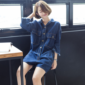 Autumn Women Drop Crotch wide leg Denim Playsuits Plus Size Boyfriend Loose Jeans Overalls Female Light Blue Rompers B80406 plus size women in overalls