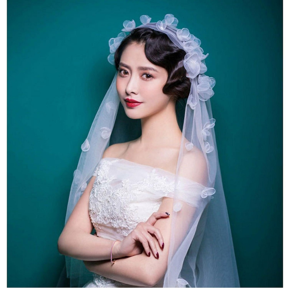 2017 Flower Short Cheap Wedding Veils One layer Beautiful Fabulous ...