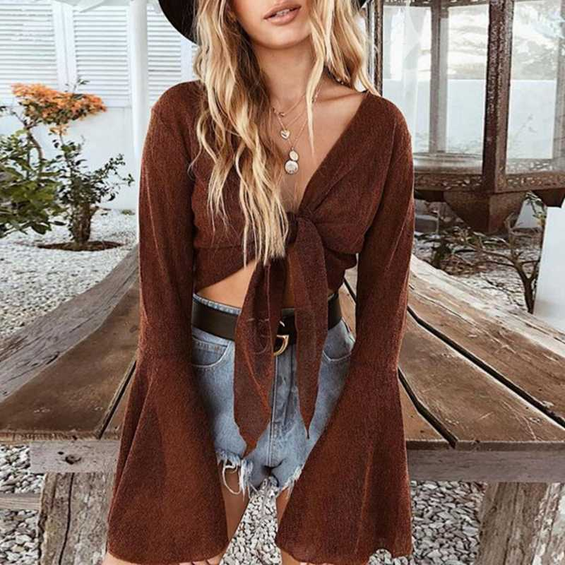 Bohemia Front Tie Blouse Women Flare Long Sleeves Ribbons Casual Sexy Crop  Top IG Sexy Cropped 79a7225c12f