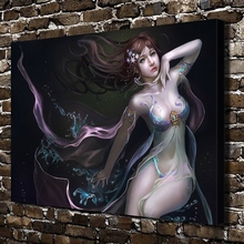 A1370 Sexy City Girl Naked Anime Figure Scenery HD Canvas Print Home decoration Living Room bedroom