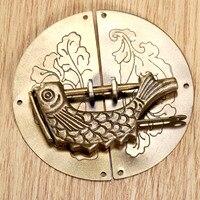 1 pc 골동품 청동 중국 오래 된 잠금 + 1 pc 빈티지 나무 상자 가구 캐비닛 당겨 가구 액세서리 레트로 하드웨어