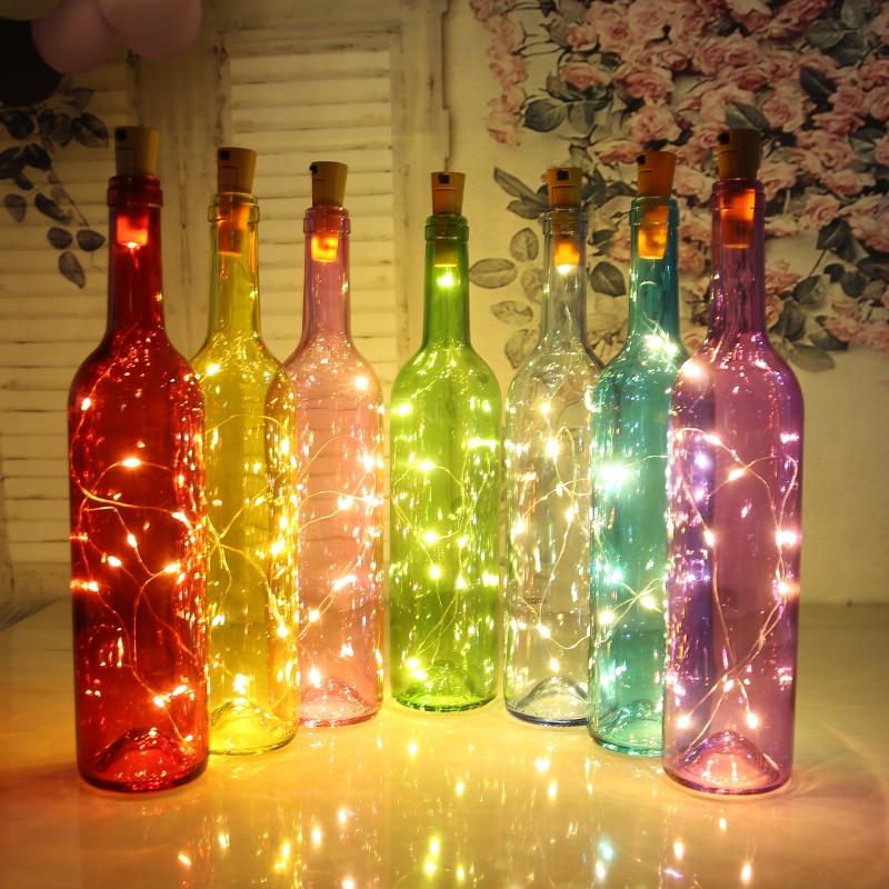 1 pçs 1 m 2 m led string luzes de cobre fio de prata fadas luz garland garrafa rolha para o ofício de vidro casamento decoração natal