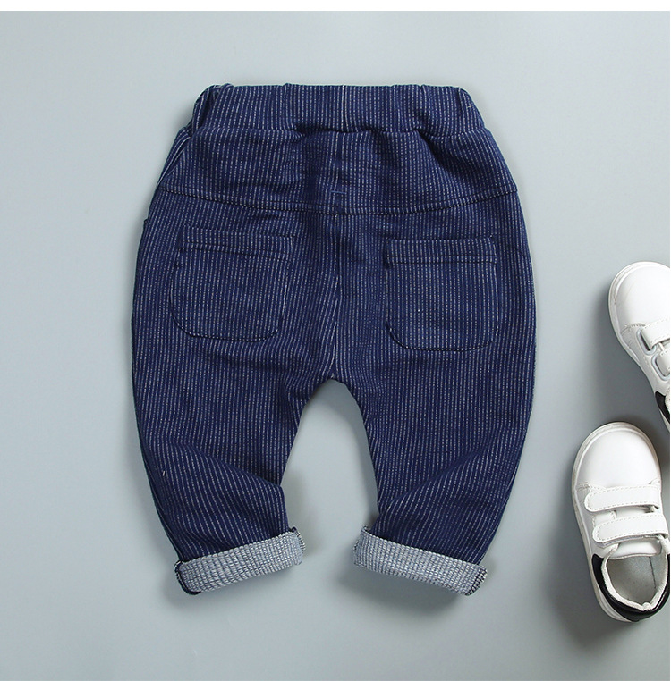 осенние детские обувь для мальчиков мужские длинные брюки в полоску с надписью Бебе для младенцев/одежда повседневные длинные брюки брюки s5524