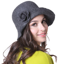 Free Shipping Women Winter Hats Felt  Hats Floopy Brim Grey Natural 100% Wool With Women Scarf Set