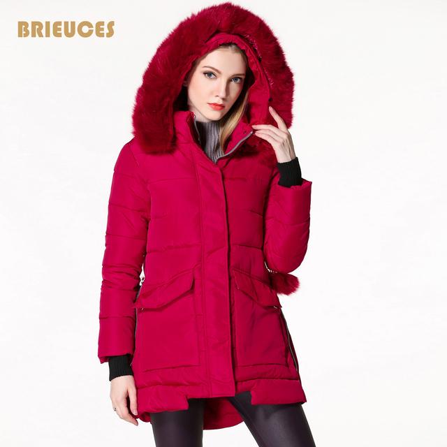 Chaqueta de invierno mujer nueva llegada grande de la piel con capucha larga de algodón hacia abajo hembra de la chaqueta de abrigo de invierno de las mujeres más el tamaño 3XL rojo 8 colores