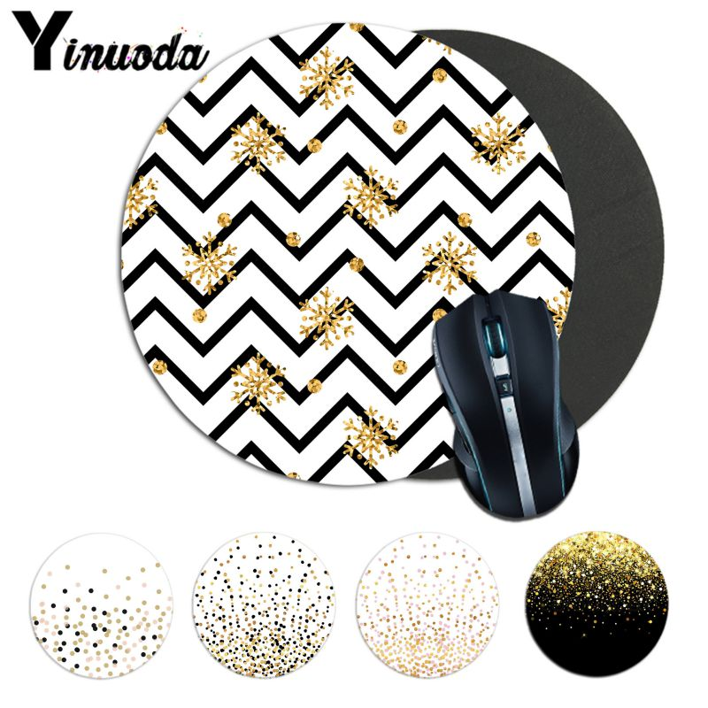 Yinuoda Floating Dots Black And Gold On White Unique Desktop Pad Lockedge Mousepad Gaming Durable PC Anti-slip Mouse Mat Anime