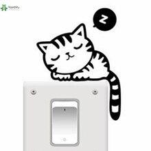YOYOYU Vinyl Wall Decal Cute sleeping cat Animal Cartoon Small Objects Electrical Switches Decoration Sticker FD148 цена 2017