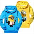 80Pieces/Lot Cheapest Children Clothes Minions Character Boys Costumes Outfits Hooded Shirts Tops Sport Shirt Jersey 100% Cotton