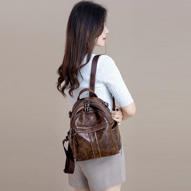 Fashion Small Backpack Bag For Travel Women's Pu Leather Backpacks Female Luxury Back Pack Women Brown Bagpack Woman