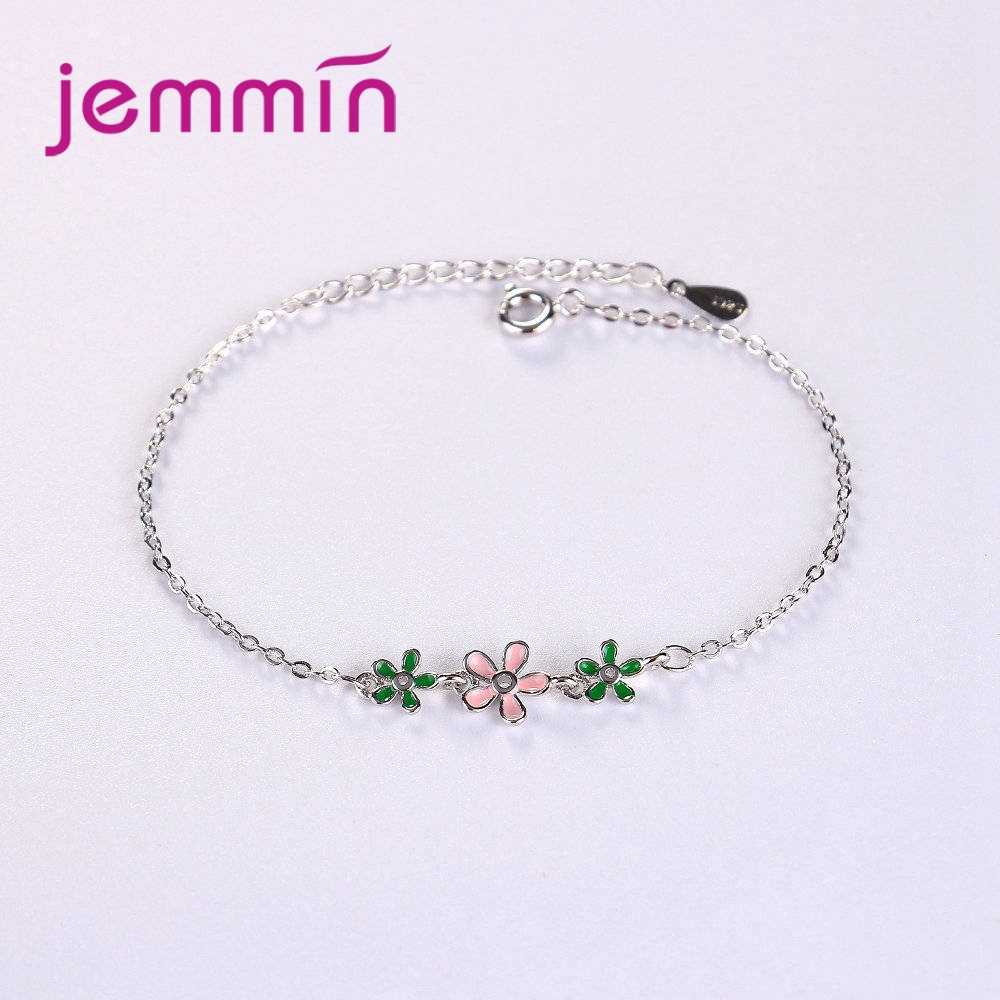 Minimalist 925 Silver Bracelet With Exquisite Design 3 pc Flower Pendeant For Female Women   Anniversary Gift Hot Sale