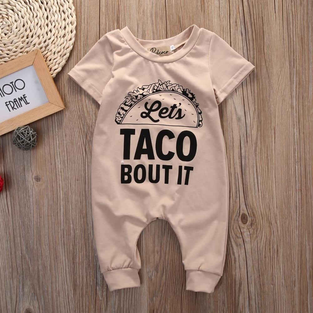 Boys' Clothing (newborn-5t) 2017 Cotton Taco Bout It Romper Summer Newborn Kids Baby Girl Boy Romper Baby & Toddler Clothing