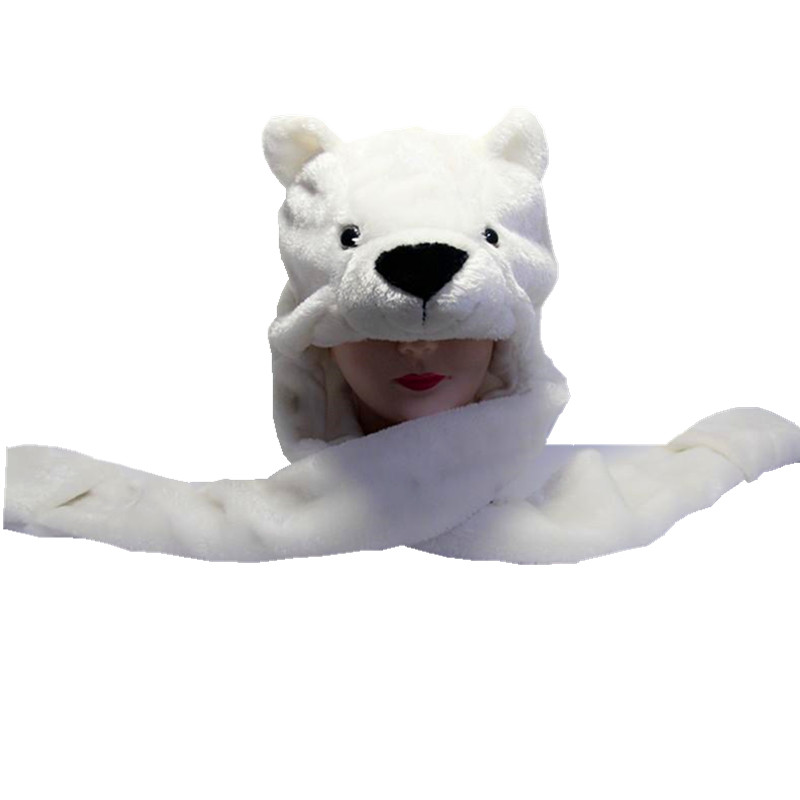Polar Bear Cartoon Animal Plush Hat Children's Winter Warm Cap Combined Scarf and Glove
