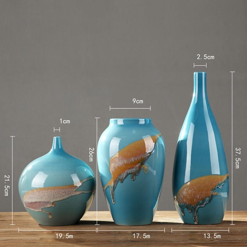 Modern Jingdezhen Luxury ceramic Vase Handmade blue Large vases Decoration Home Furnishing Craft Wedding Gifts