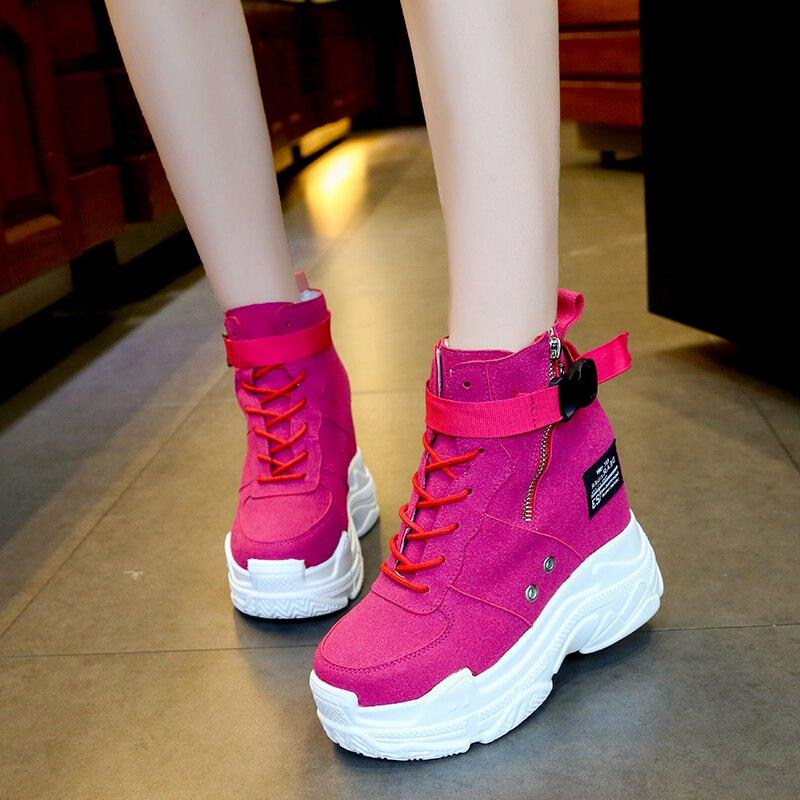 2018New Women Vulcanize Shoes Vintage Lace Up High Heel Wedge Platform Women Shoes Leisure Woman Footwear Black Yello Rose 35-39 yello yello flag