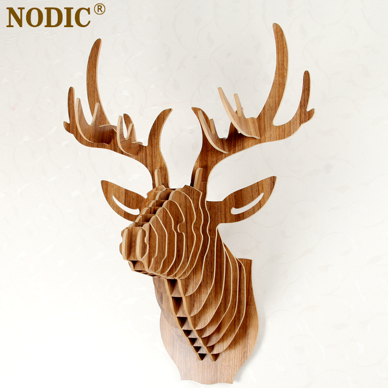 Nodic deer head home decoration wall art diy wooden craft for Animal head wall decoration