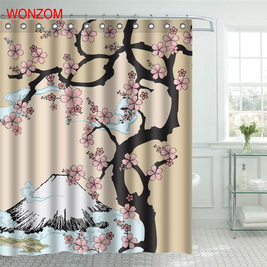 wonzom polyester fabric elegant tree shower curtain bathroom decor plant waterproof cortina de bano with 12