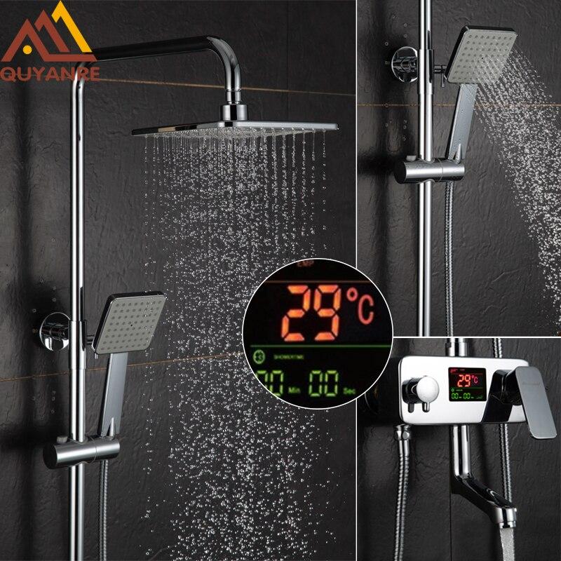 Quyanre 液晶デジタルディスプレイシャワー蛇口セット水ダイナミックデジタルディスプレイミキサータップウォールマウント浴室のシャワーミキサータップセット  グループ上の 家のリフォーム からの シャワー 蛇口 の中 1