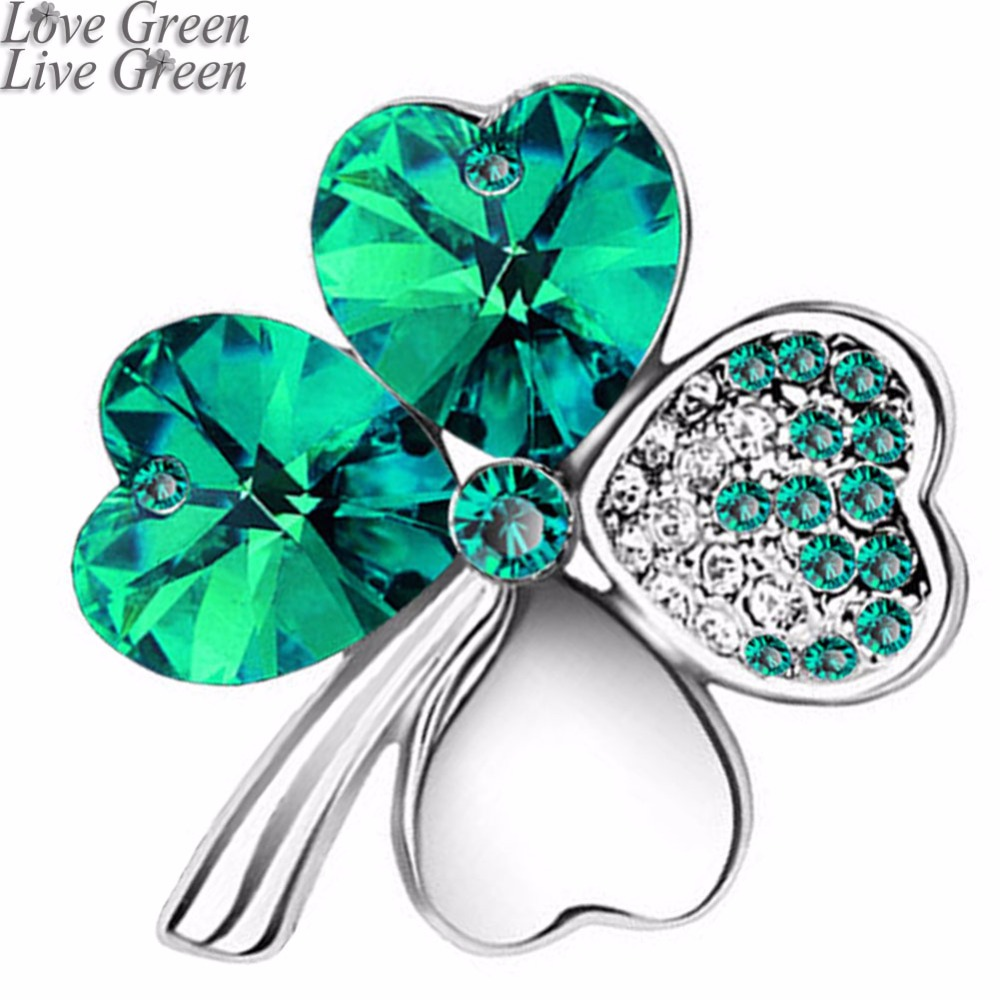 Women`s Day Gift New Factory Wholesales Austrian Crystal Four Leaf Clover Brooch Women Accessories Fashion Jewelry 9554