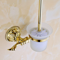 Antique Gold Polished Solid Brass Toilet Brush Holder With Glass Cup Bathroom Hardware Sets Bathroom Accessories