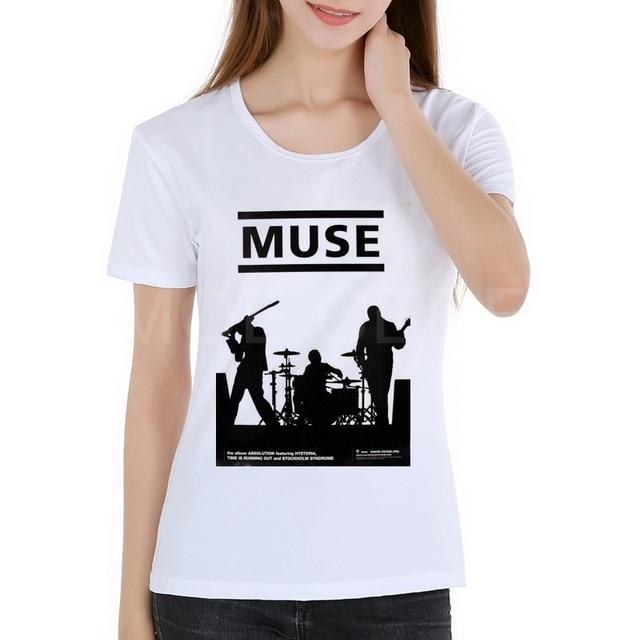 Moda Rock Band Muse camisetas mujeres 2018 verano manga corta Musa camiseta  Tops señora camiseta de 66a5858e967e1