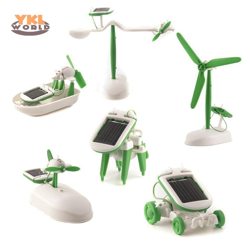 6 En 1 Energía Solar Robot Kit de bricolaje montar Gadget avión barco tren modelo ciencia regalo juguetes para niño niños (S0