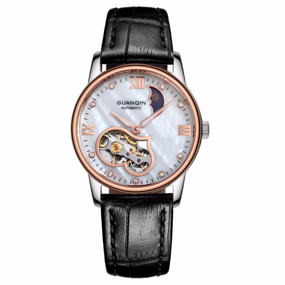 GUANQIN Reloj Mujer Tourbillon Mechanical Women's ladies Automatic watch Dress top brand famous pearl dial Relogio Feminino A relogio feminino dourado reloj mujer