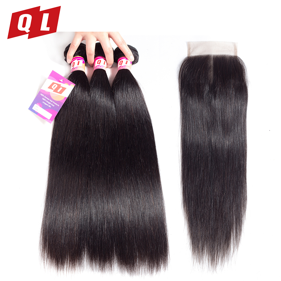 QLOVE HAIR Straight 3 Bundles With Closure Peruvian Human Hair Non Remy Bundles With Closure Natural