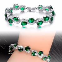 Hand act the role of zircon Ms white bracelet GREEN DS926