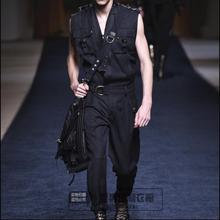 Прилив мужской комбинезон Подиум Мода личность повседневные свободные брюки Британский Молодежный стилист мужчины без рукавов Комбинезоны 27-42