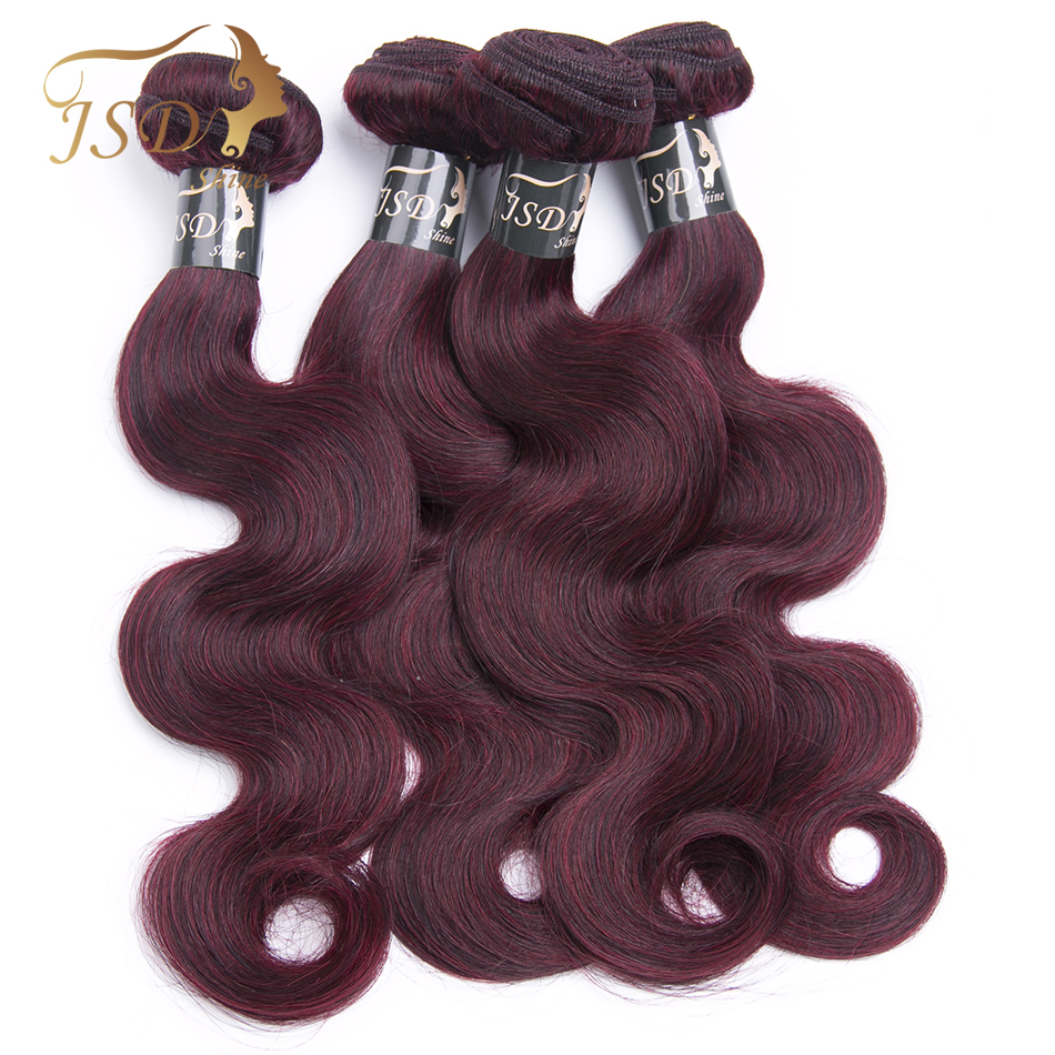 JSDShine Hair Indian Body Wave Bundles Human Hair Weft 99J Burgundy Red Color Non Remy Hair Extensions 8-28inch 4PC