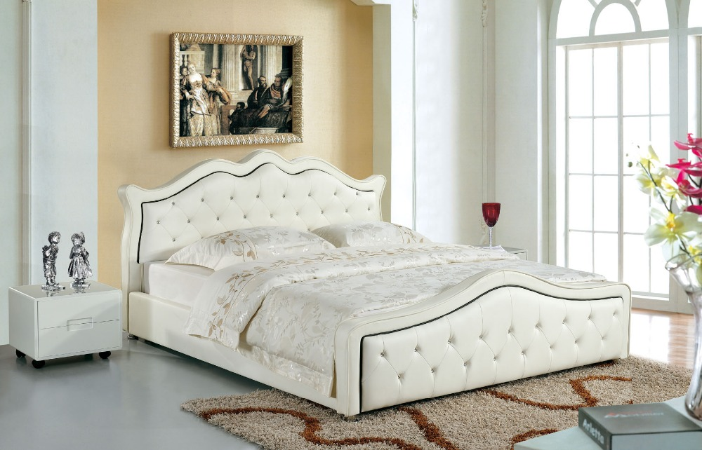 designer modern genuine real leather soft bed/double bed king/queen size bedroom home furniture white color with ctystal buttons
