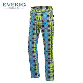 EVERIO Men's Golf Sportswear Quick-drying Breathable Spring Summer Authentic British plaid Thin Pants Golf Trousers Button Style