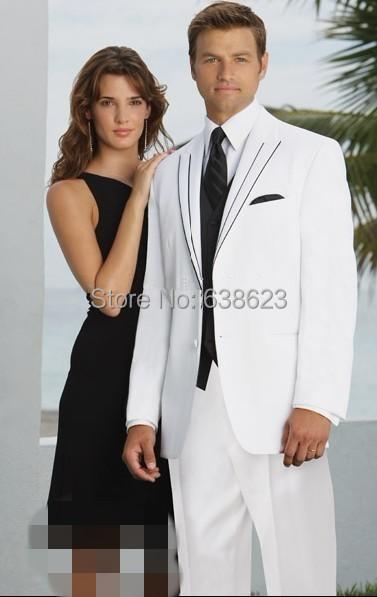 AMS2095 Dois Botões Branco Do Noivo Smoking Pico Lapela Padrinhos Homens vestidos de Casamento (Jacket + Pants + Tie + Vest)
