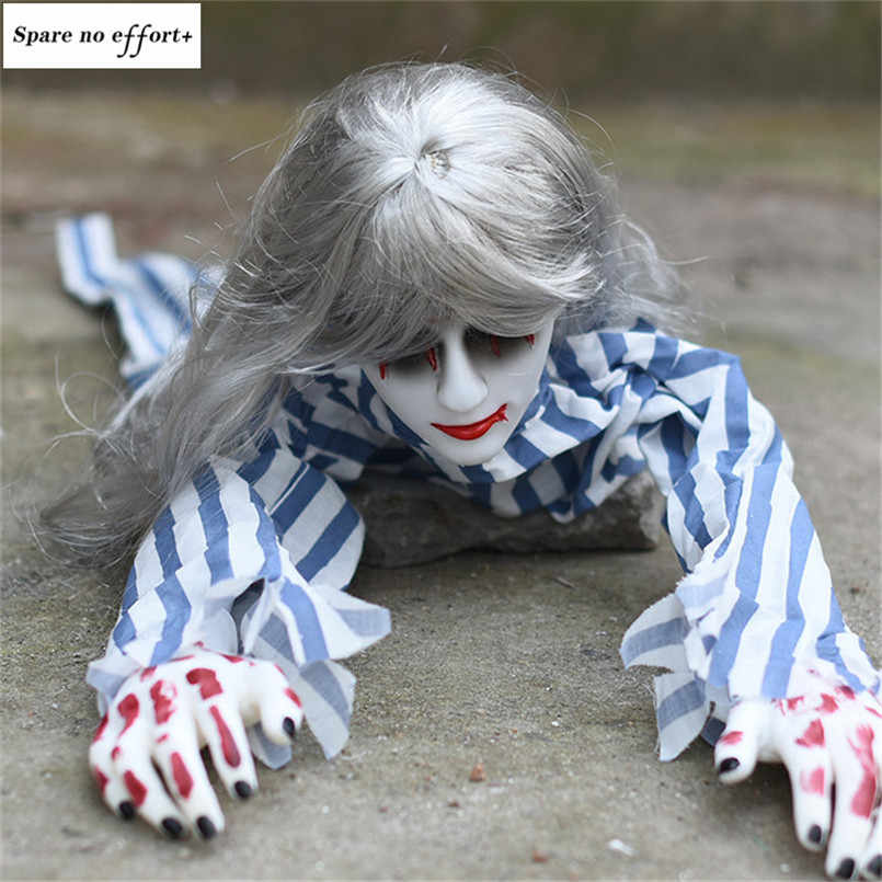 Crawling Assustador Fantasma Festival Quarto Decoração Do Dia Das Bruxas Assombrado Assombrado Decoração Da Casa Bar Movendo Brinquedo Elétrico Boneca Olhos Brilhantes