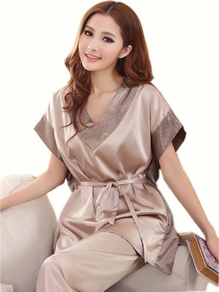 Verano 2016 Mujeres Sexy Pijamas de Seda de Moda sistema del Sueño del Color Sólido V-cuello de la Corto-manga de Seda Más El Tamaño de Salón Femenino Tapas del sueño