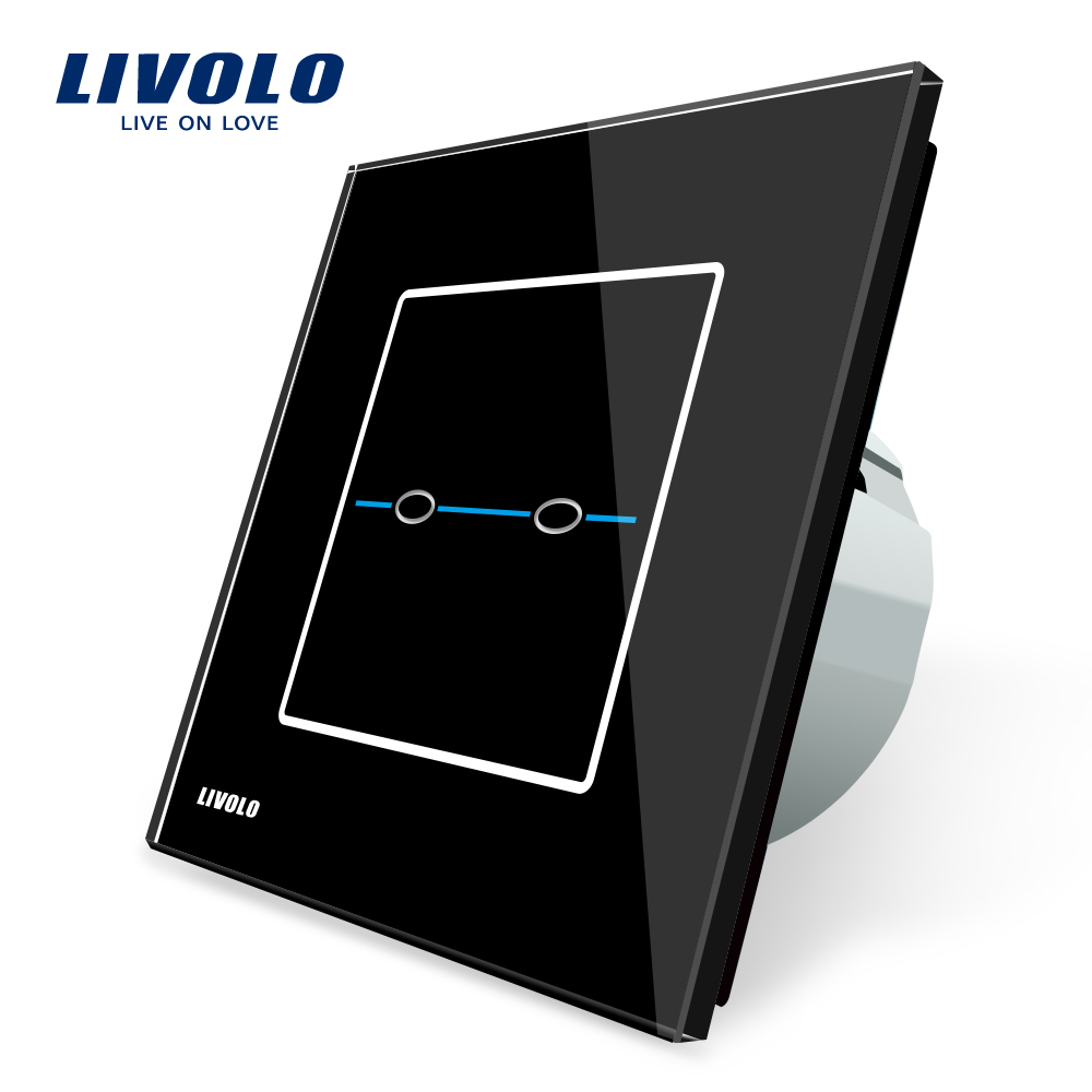 Livolo EU Standard, VL-C702-32,Black Crystal Glass Panel,220~250V Wall Light Touch Screen Switch+LED Indicator eu plug 1gang1way touch screen led dimmer light wall lamp switch not support livolo broadlink geeklink glass panel luxury switch