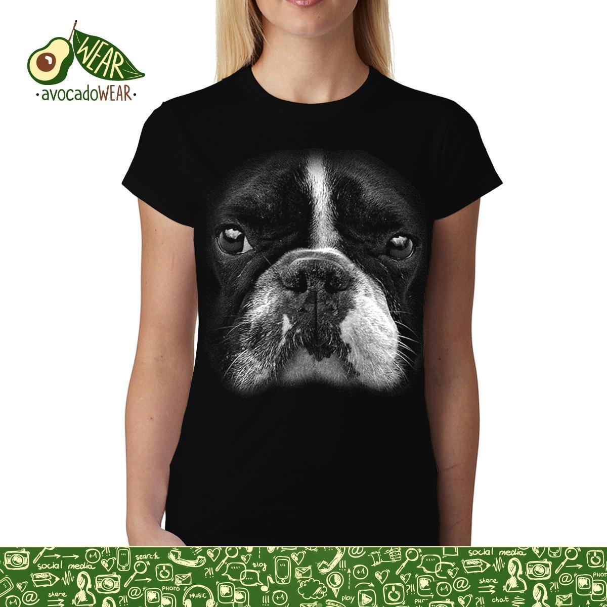 Boston Terrier Face Animals Women T-shirt M-3XL NewStreetwear Funny Print Clothing Hip-Tope Mans T-Shirt Tops Tees Hot Sale Men