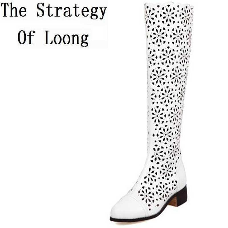 Hakiki deri kalın orta topuk Zip kadınlar Cut Out diz yüksek sandalet çizmeler kadın şövalye yaz uzun kesim botları 35 -39 SXQ0511
