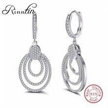 Фотография Rinntin 100% Sterling Silver Women Dangle Earrings 925 Big Round Hollowed Statement Bohemian Style Party Wedding Jewelry TSE46